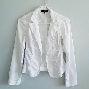 Express White Lightweight Cotton Ruched Blazer